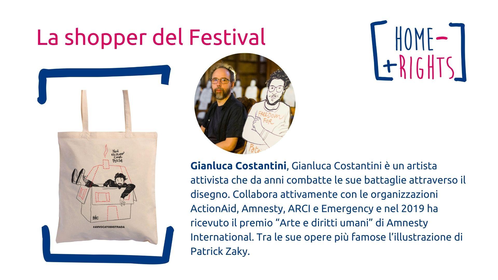 Gianluca Costantini illustrazione shopper Homeless more rights
